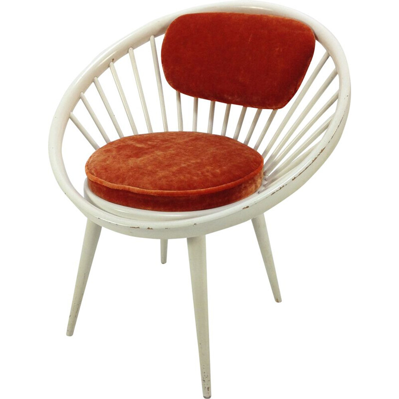 Vintage red Circle armchair by Yngve Ekström 1960s