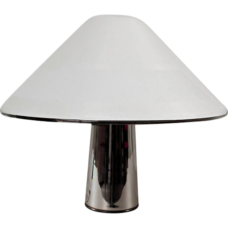 Vintage Mushroom lamp for Harvey Guzzini in white metal