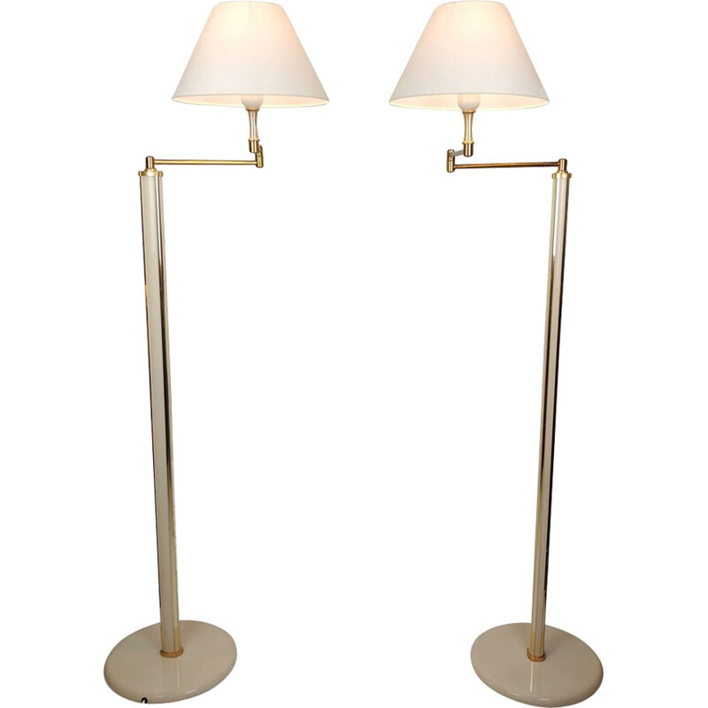 Pair of modular floor lamps lacquer and brass 1970 s