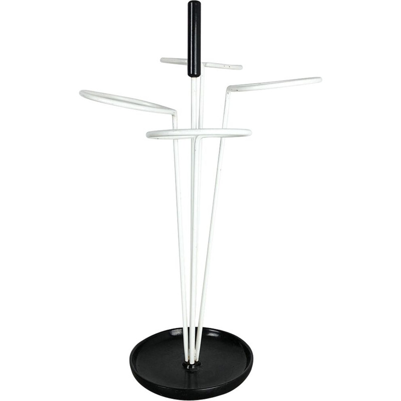 Vintage black and white umbrella stand, Germany 1960