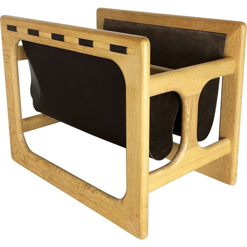 Oak wood magazine rack design made by Salin Mobler, Denmark 1970