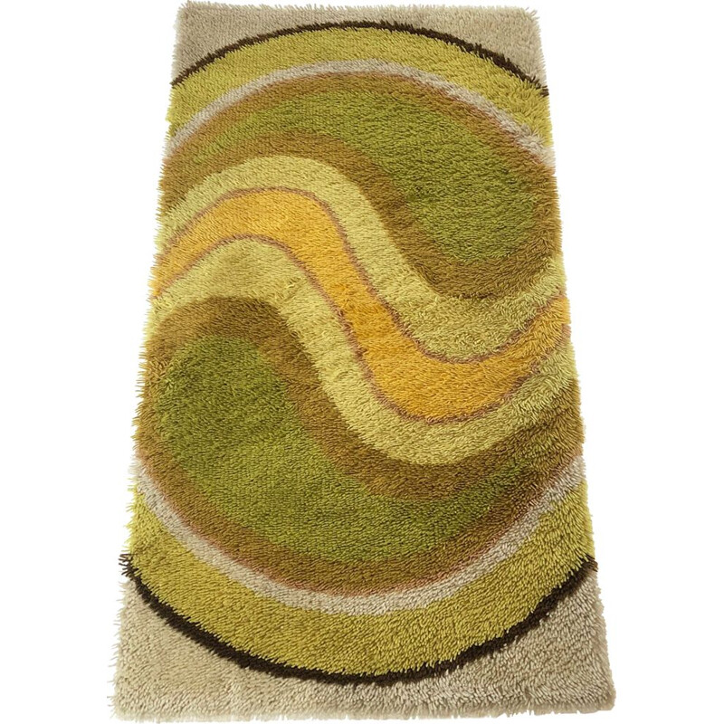 Vintage green wool German carpet 1970s