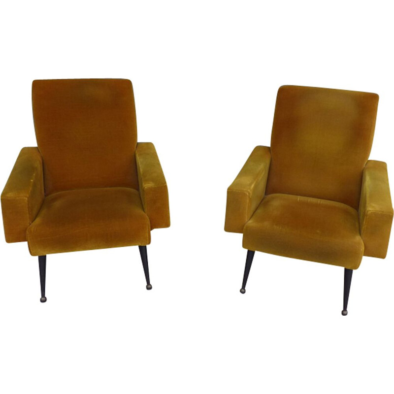 Pair of vintage velvet mustard chair, French 1960s