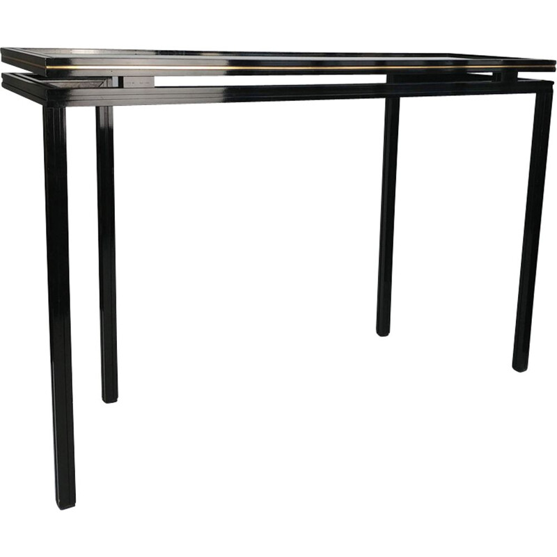 Black lacquered metal Console by Pierre Vandel 1970