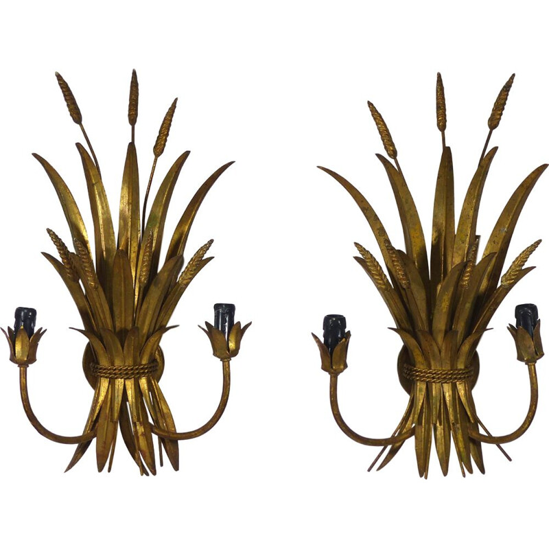 Pair of vintage french gilded steel wall lamps