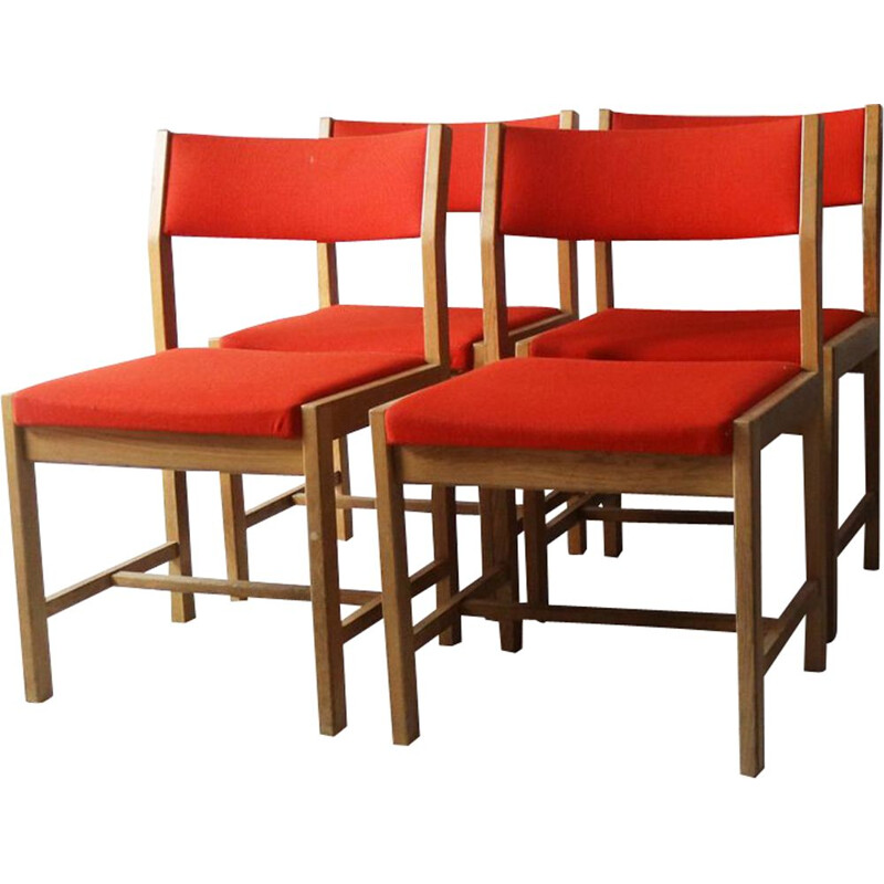 Set of 4 vintage danish red chairs by Borge Mogensen 1970