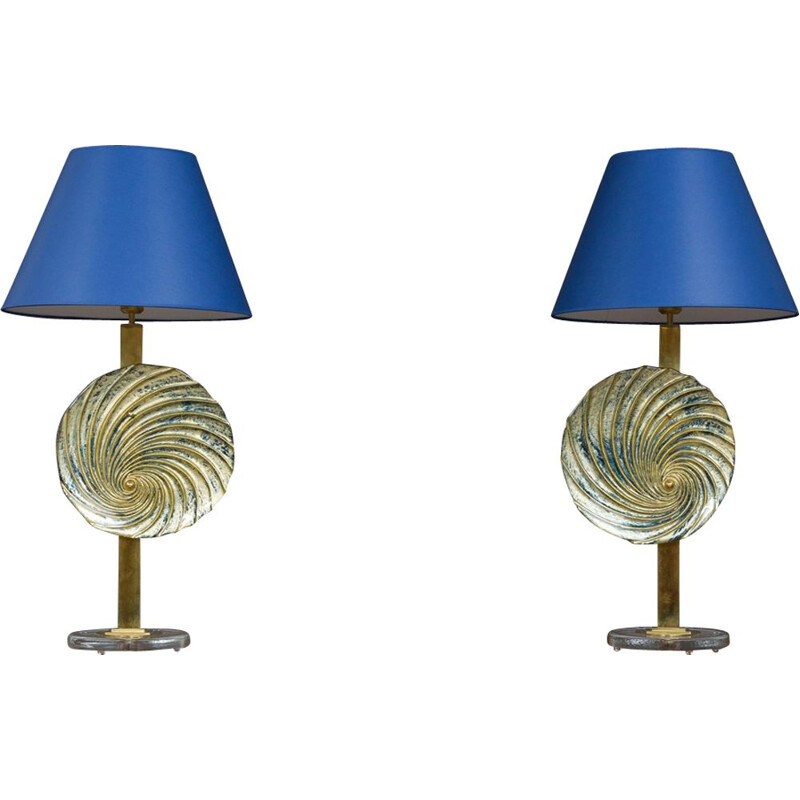 Pair of vintage italian blue Murano lamps in brass 1990