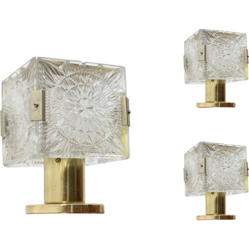 Set of 3 vintage lamps by Kamenický Šenov in brass and glass