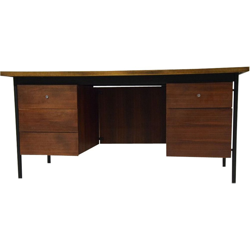 Vintage Ministre desk for Knoll in teak and steel 1950
