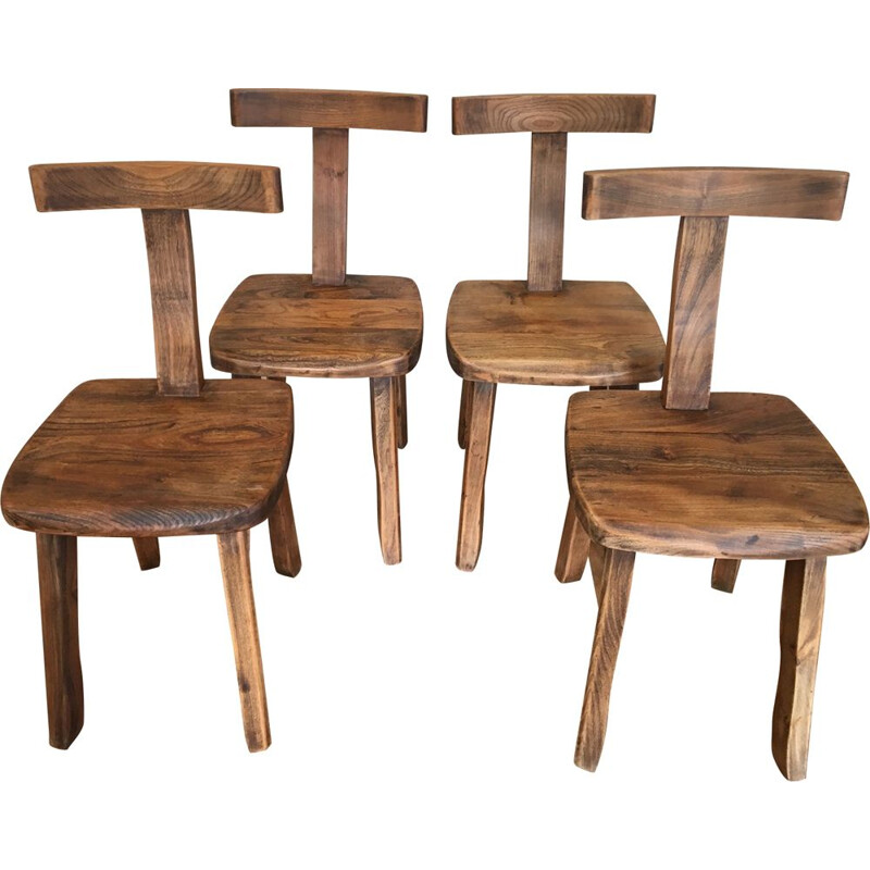 Set of 4 vintage T chairs for Mikko Nupponen in elm 1950