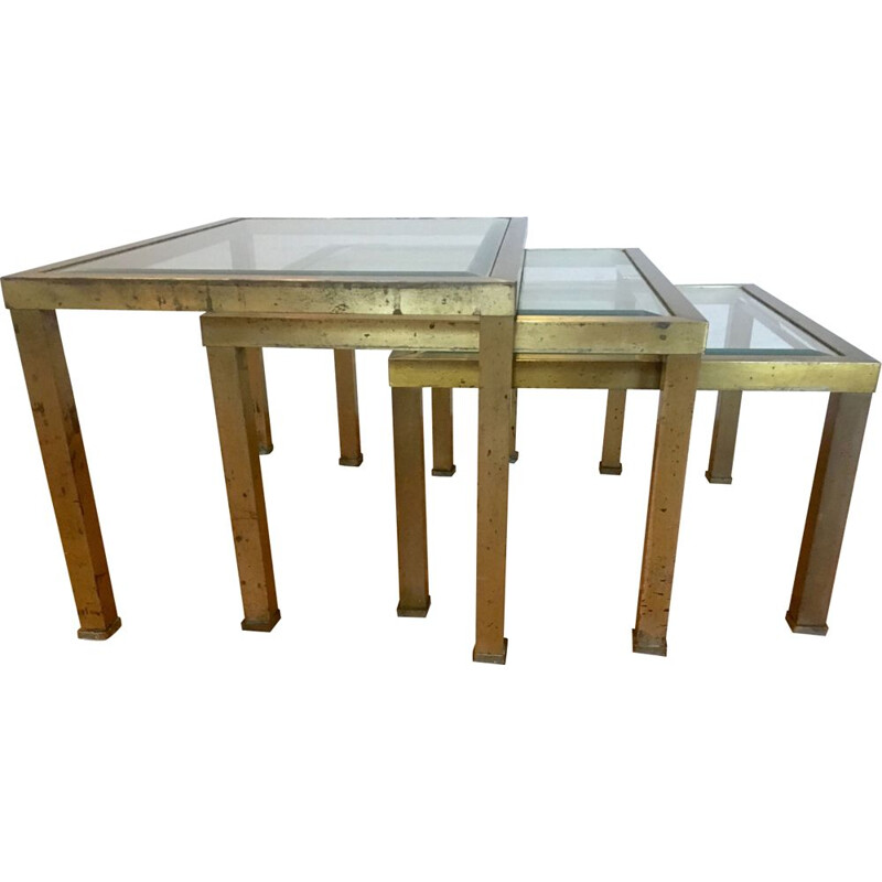 Set of 3 vintage french nesting tables in metal and glass 1970