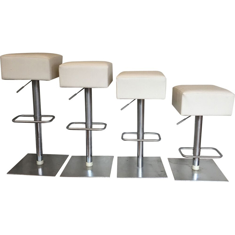 Set of 4 vintage stools in ivory leatherette and steel 1980