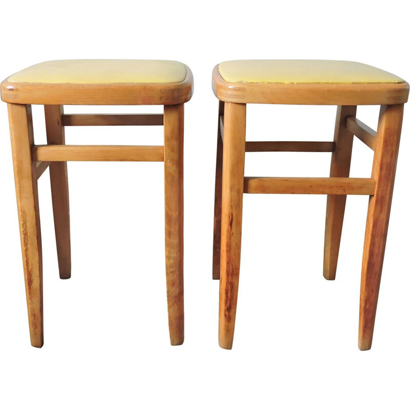 Set of 2 vintage beech and yellow leather stools 1960s
