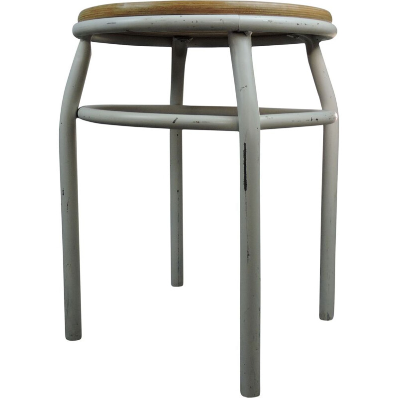 Vintage white stool in metal and wood 1960
