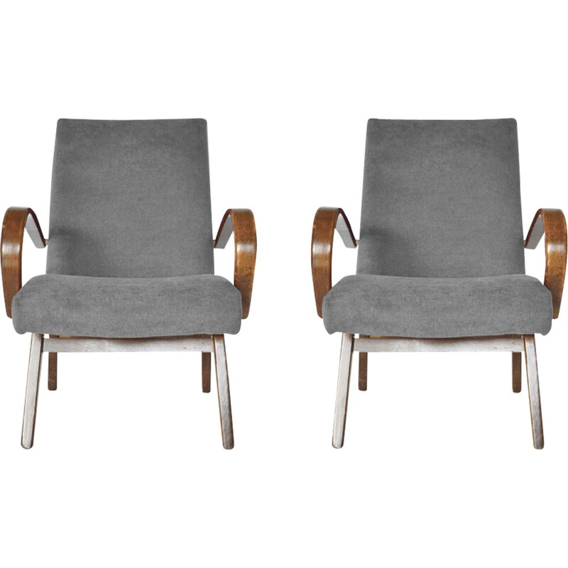Set of 2 vintage model 53 armchairs for TON in beechwood and grey velvet 1960