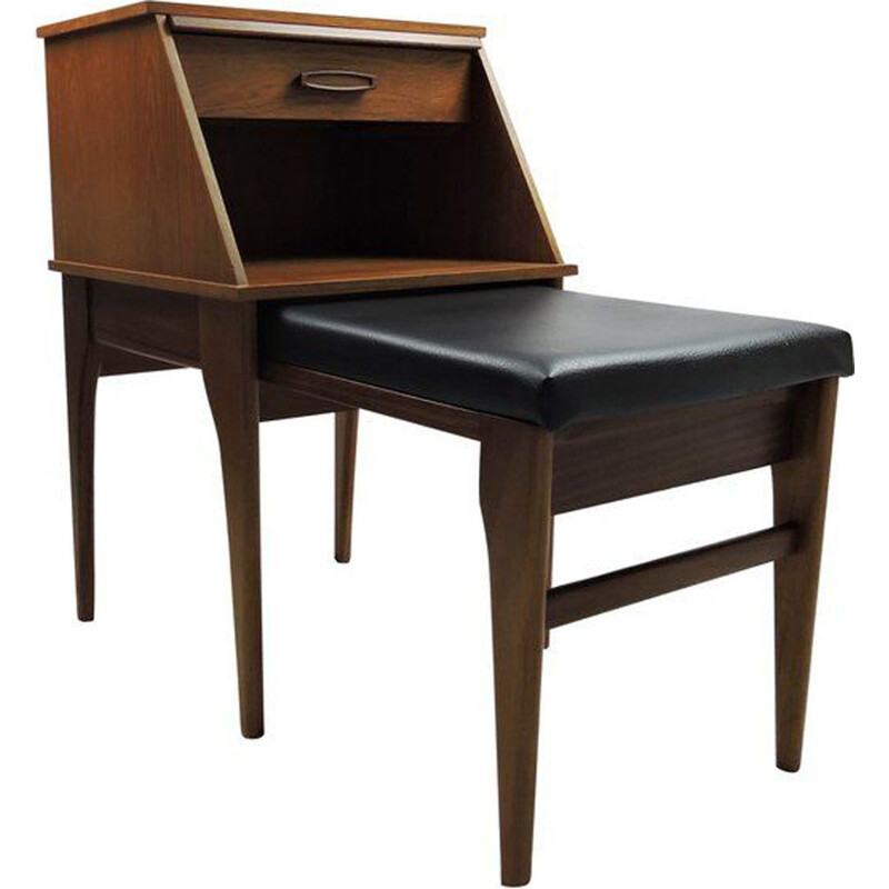 Vintage nesting table with telephone seat in teak and leatherette 1960