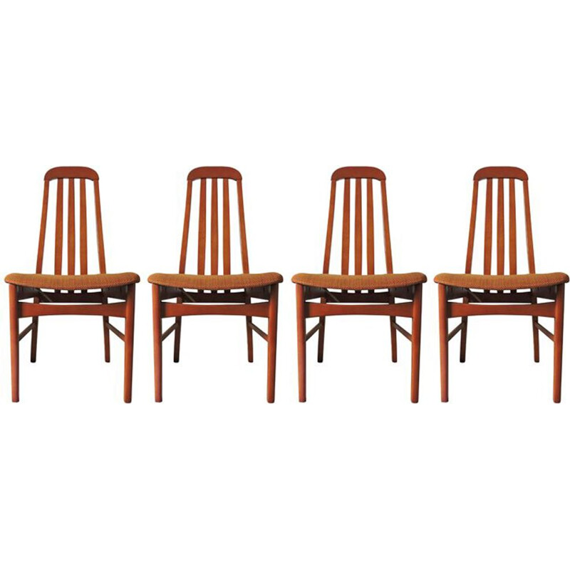 Set of 4 vintage chairs in wood and brown-orange fabric 1970