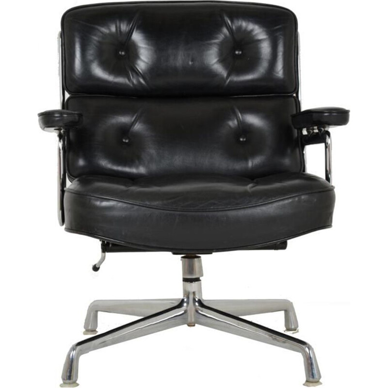 Vintage Lobby armchair for Herman Miller in black leather 1960