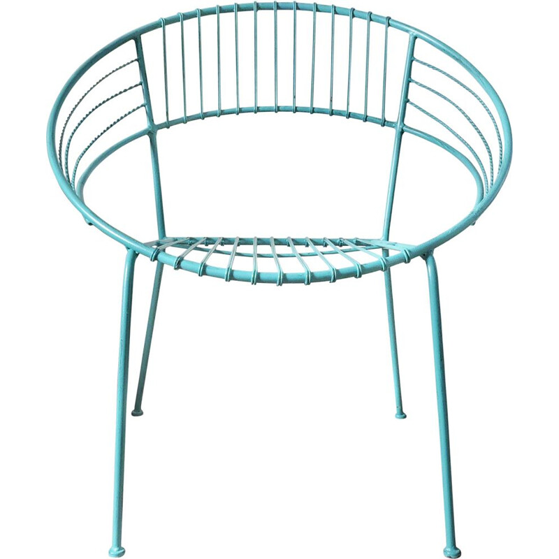 Turquoise garden chair in metal
