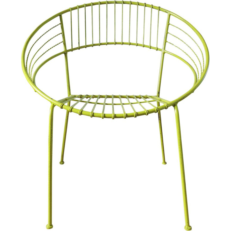 Green garden chair in metal