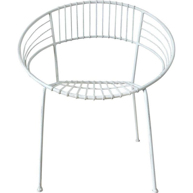 White garden chair in metal