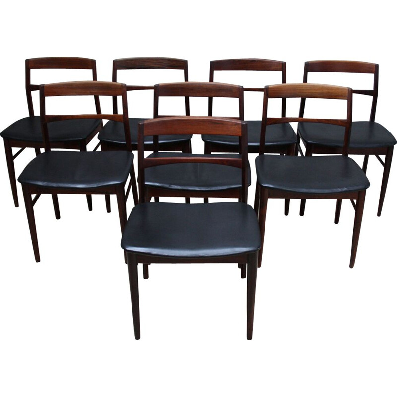 Set of 8 chairs in rosewood by Velje Stole