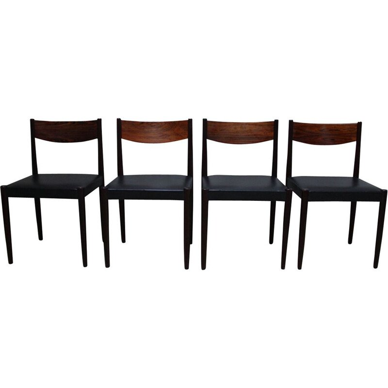 Set of 4 vintage dining chairs in rosewood and leather by Poul Volther