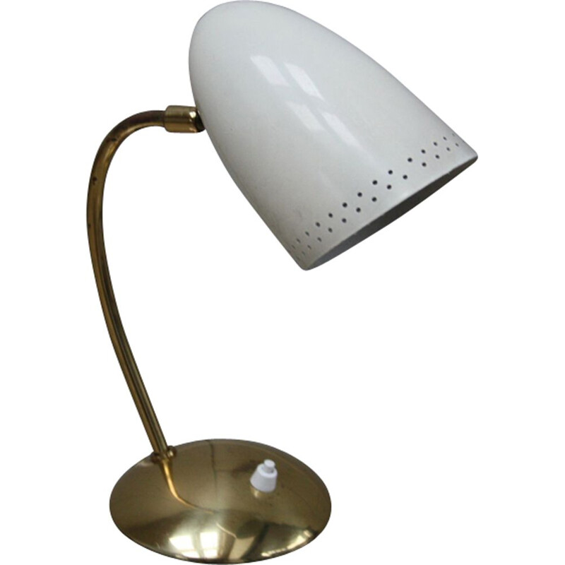 Vintage table lamp in messing and enamel