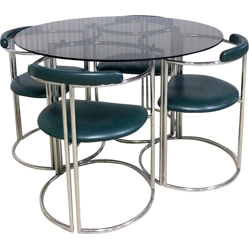 Vintage Italian dining set in chrome