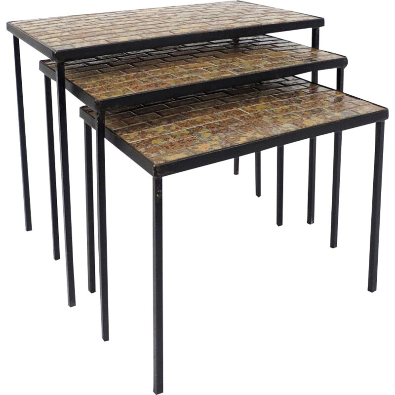 Set of 3 vintage nesting tables in iron and ceramic