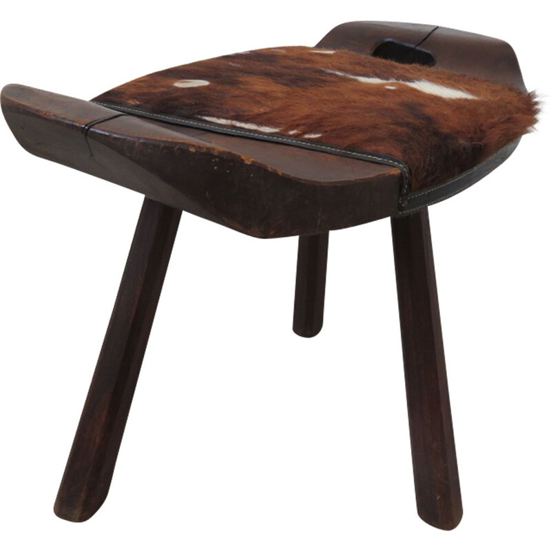 Vintage tripod stool in solid wood and cowhide 1960s