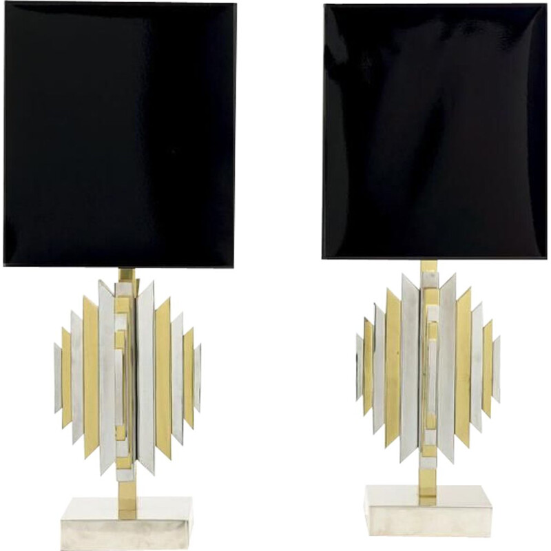 """Pair of vintage lamps """"cactus"""" in brass and chrome 1970"""