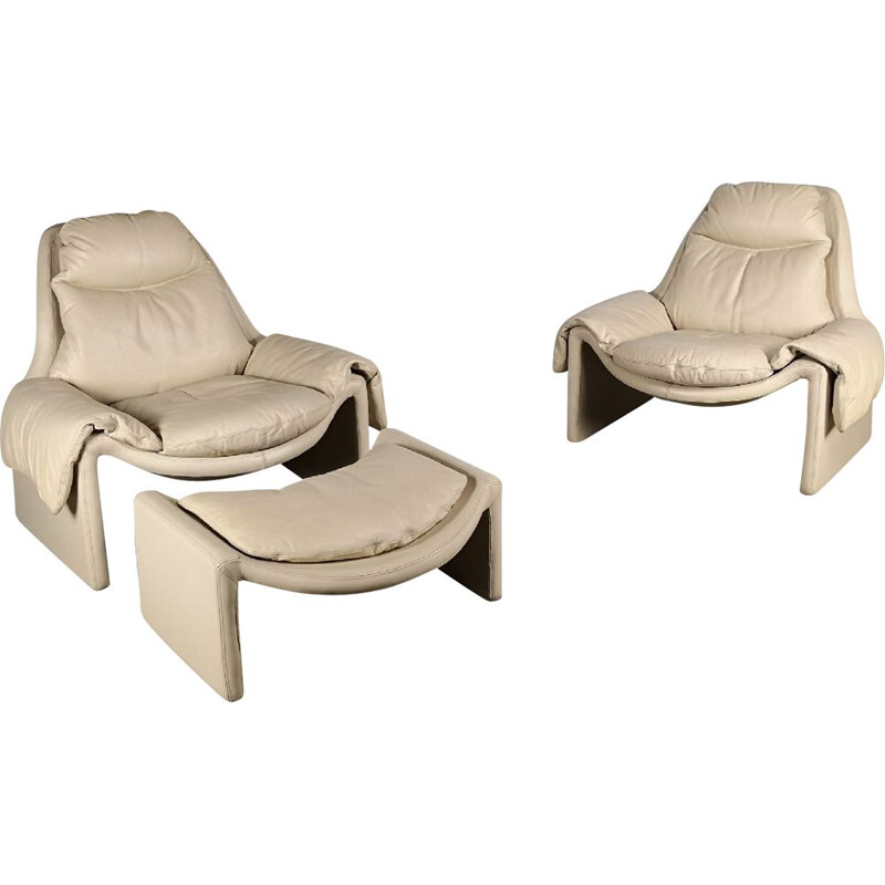 Pair of vintage armchairs in leather by Vittorio Introini for Saporiti Italia