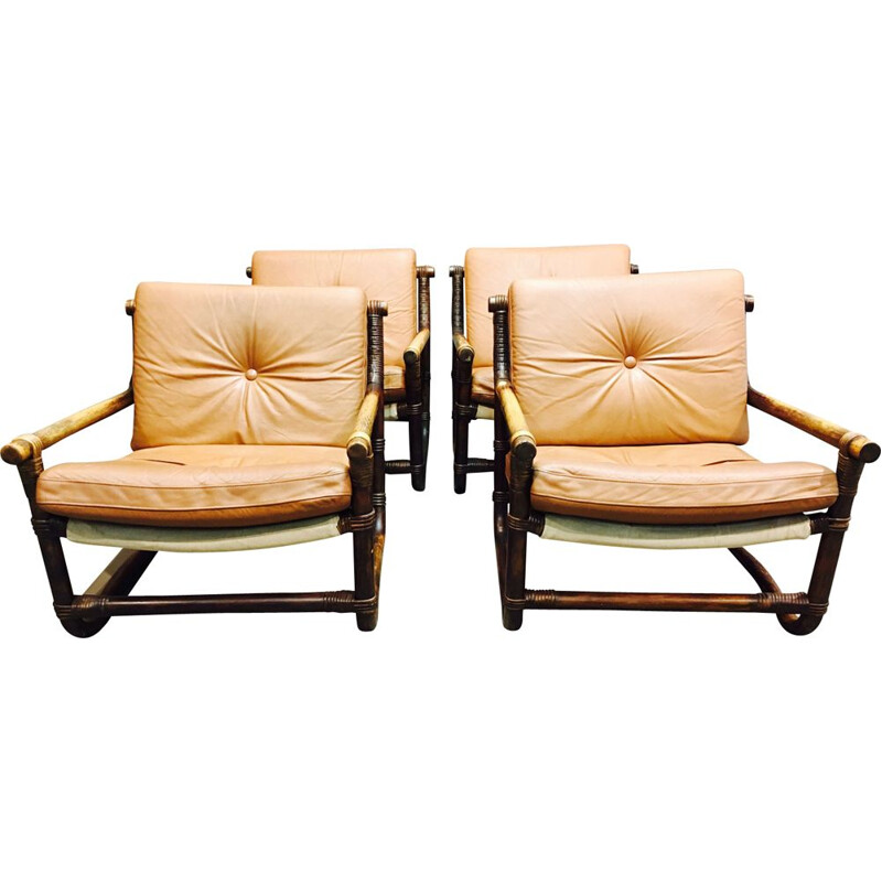 Set of 4 vintage brown armchairs in rattan and leather