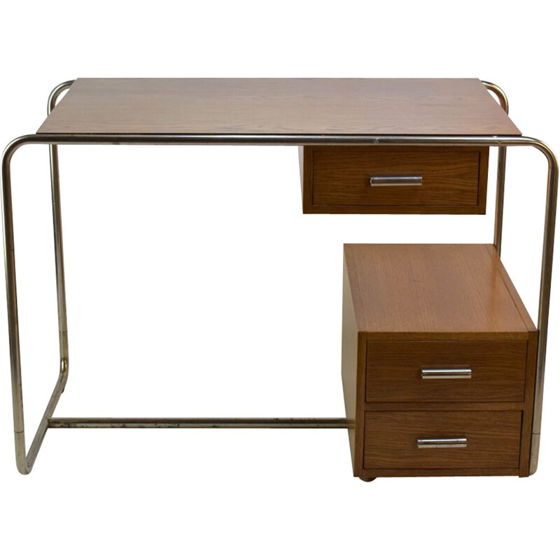 Vintage desk in oak and chromed steel by Thonet