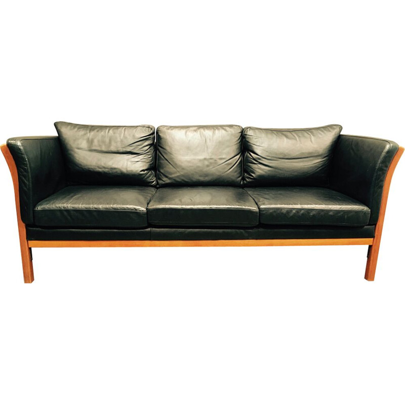 Vintage scandinavian sofa in black leather and wood 1980