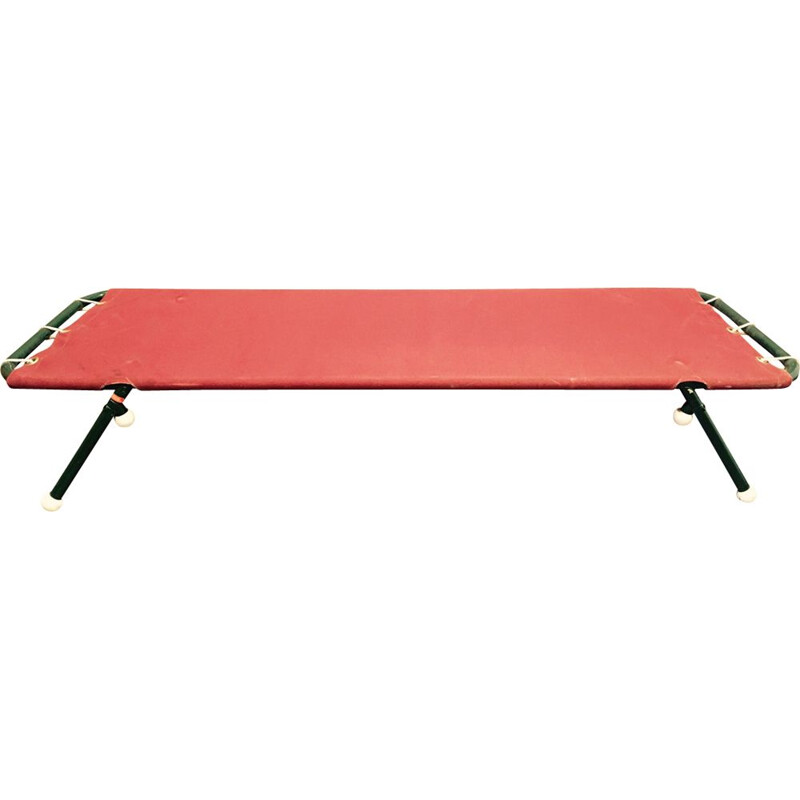 Set of 10 vintage folding beds in metal and red fabric 1950