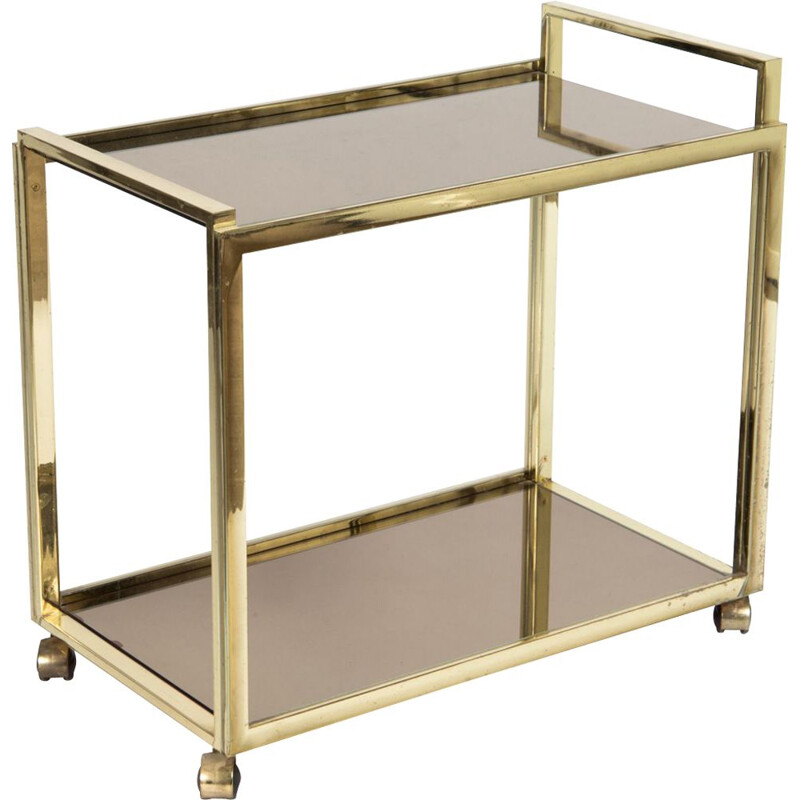 Vintage two-tiered trolley in gold-plating and glass 1980
