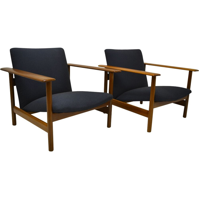 Pair of vintage mahogany and blue fabric armchairs for Steiner 1960