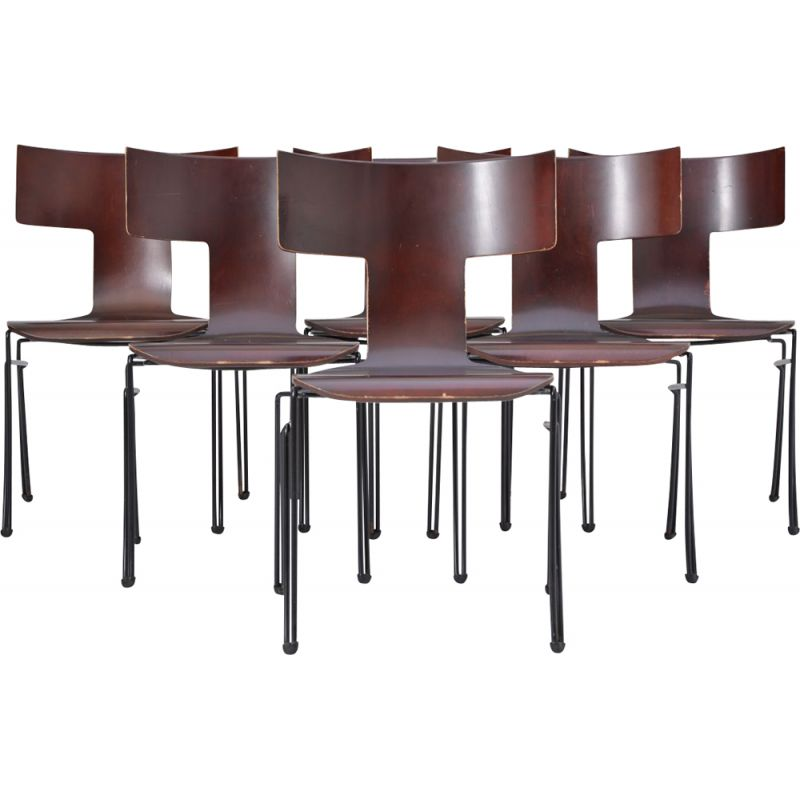 Set of 6 vintage Anziano chairs for Donghia in steel and beechwood 1980