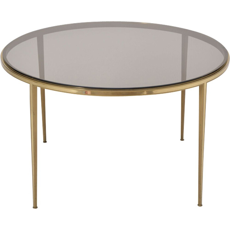 Vintage golden table for Vereinigte Werkstätten München in brass and glass