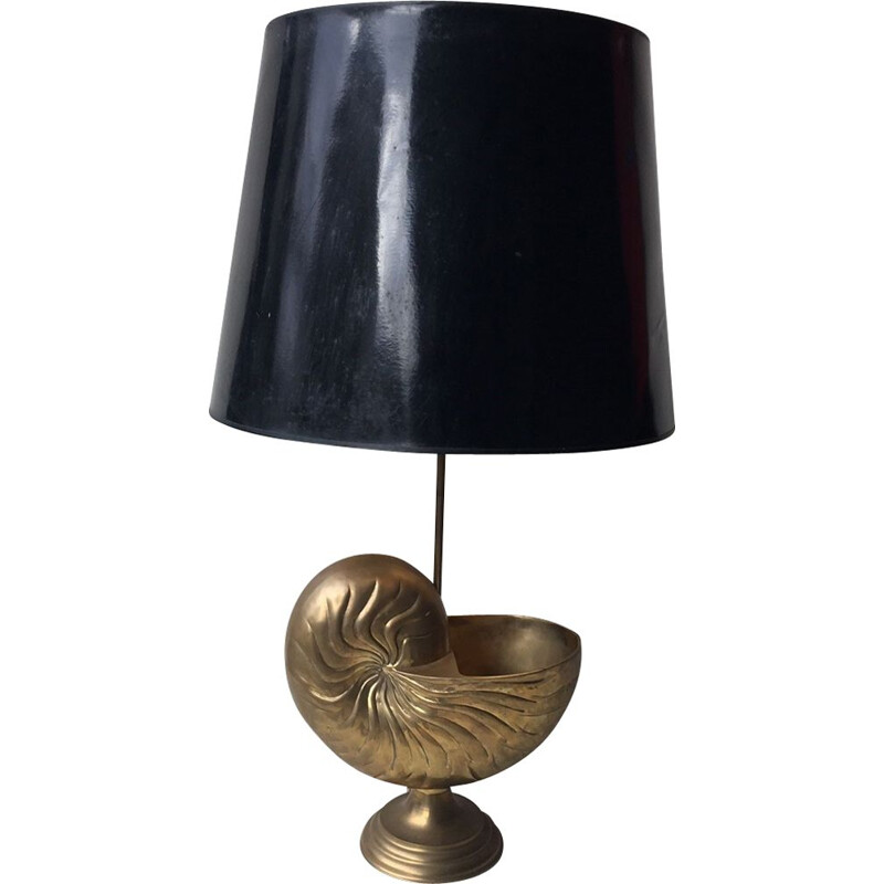 French vintage golden metal lamp 1970