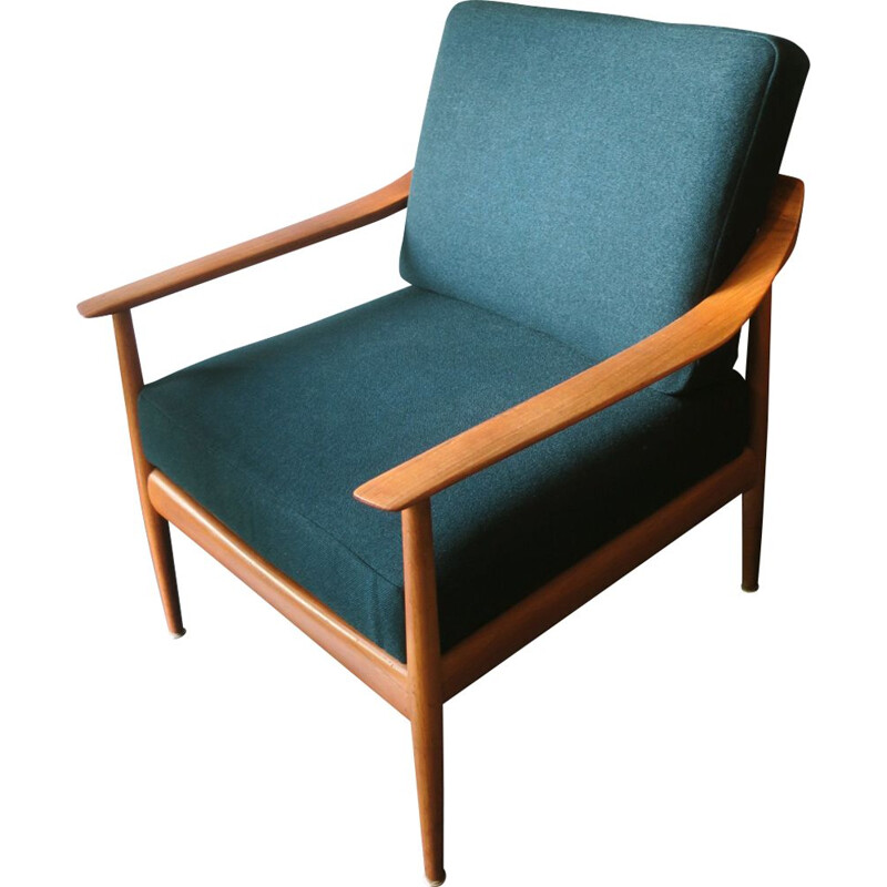 Vintage teak armchair in sea green fabric 1960