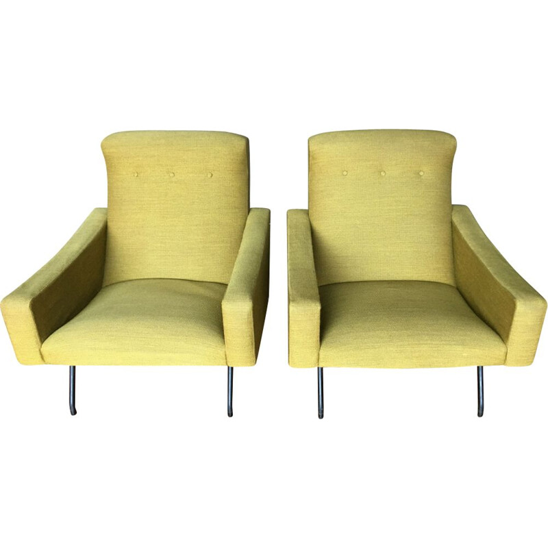 Pair of vintage armchairs for Steiner in yellow fabric and metal