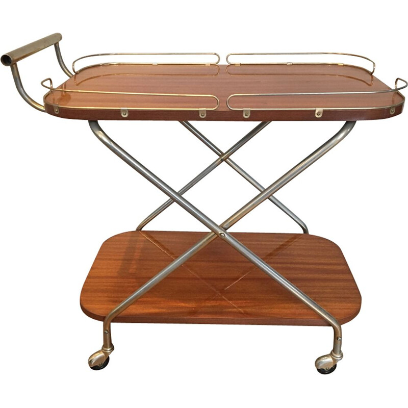 Vintage french serving trolley in wood and metal 1950
