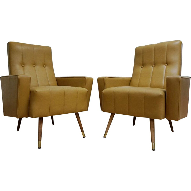 Set of 2 vintage italian club armchairs in yellow leatherette 1960