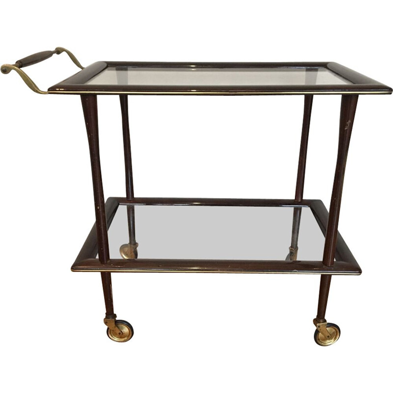 Vintage trolley by Cesare Lacca in glass and mahogany 1950