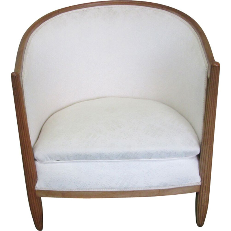 French vintage armchair in beechwood and white fabric 1950