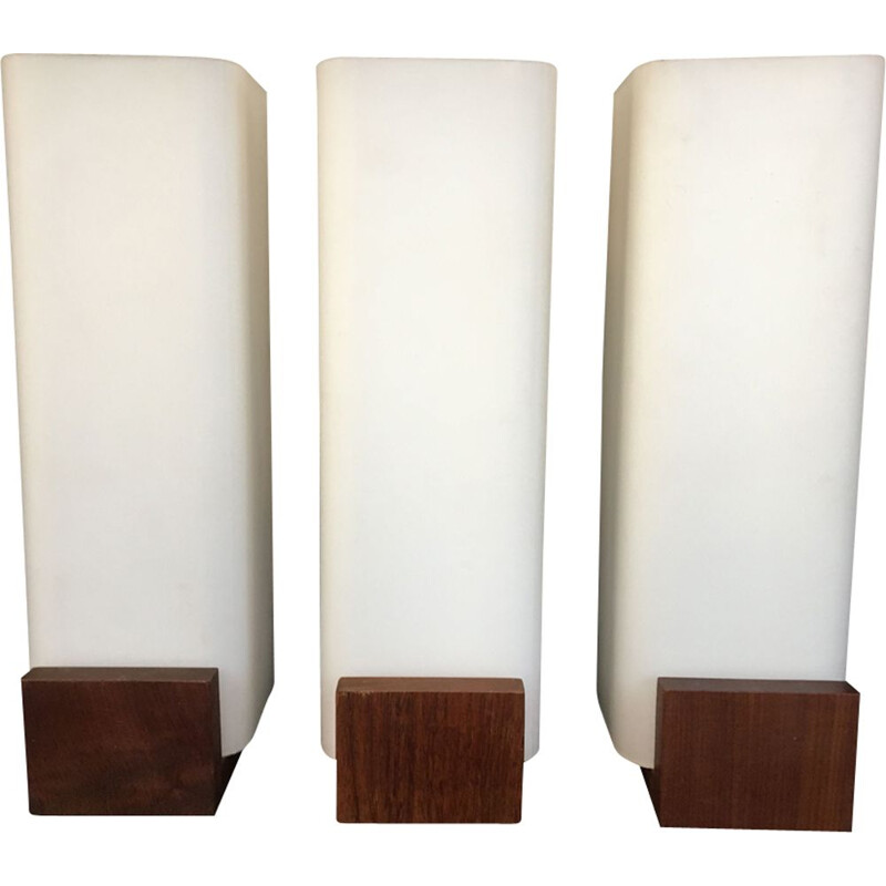 Set of 3 vintage sconces for Philips in teak and opaline