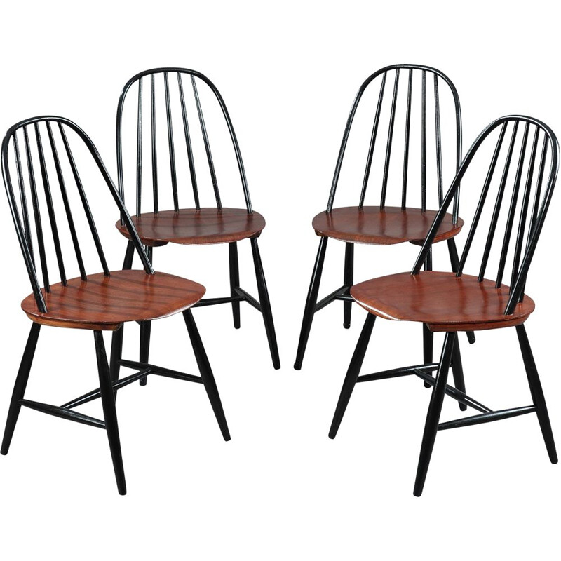 Set of 4 vintage chairs for Haga Fors in teak 1950